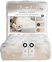 Dreamland luxury super soft faux fur intelliheat heated mattress protector, double size electric blanket with 2 controls Cleverly responds to temperature changes while you sleep. It has an easy fit elasticated skirt, fits mattress's up to 30 cm deep....