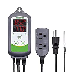 🥇🥇【Convenient Design】Plug and play, easy to use. Support °C/°F display. 🥇🥇【Dual Relay Output】Be able to connect with refrigeration and heating equipment at the same time. 🥇🥇【Dual Display Window】Be able to display measured temperature and set temperat...