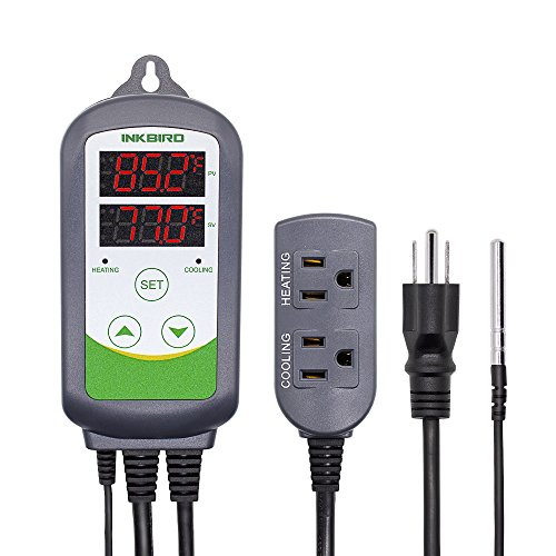Inkbird ITC-308 Digital Temperature Controller 2-Stage Outlet Thermostat Heating and Cooling Mode Carboy Homebrew Fermenter Greenhouse Terrarium 110V 10A 1200W