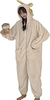 [JINPIN]着ぐるみ パジャマ ルームウェア 着ぐるみパジャマ オールインワン レディース 大人用着ぐるみ ナイトウェア 部屋着 スリップウェア 寝間着 仮装 着る毛布 かわいい 長袖 前開き フッド もこもこ 秋冬 牛 ロング 男女兼用...