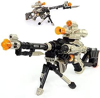LilPals 28 Inch Rapid Fire Snow Leopard Sniper Rifle Toy Gun - With Dazzling Light, Amazing Sound & Unique Action
