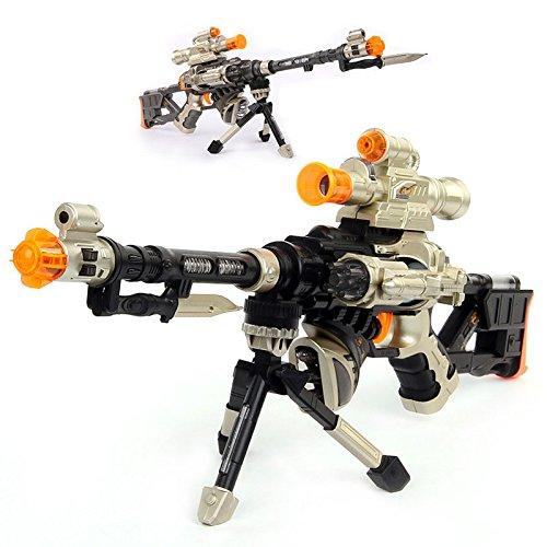 LilPals' 28 Inch Rapid Fire Snow Leopard Sniper Rifle Toy Gun - with Dazzling Light, Amazing Sound & Unique Action