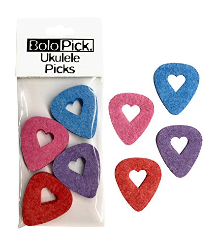 BoloPick Felt Picks for Ukulele, Guitar, and Bass with easy grip cut-out, 8 Pack, Original
