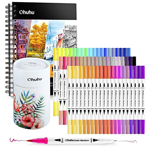 "Ohuhu Art Markers Dual Tips Coloring Brush Fineliner Color Pens, 60 Colors of Water Based Marker+ 10""×7.6"" Mixed Media Art Sketchbook"