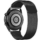 GBPOOT 20mm Cinturino Compatibile con Samsung Galaxy Watch Active/Active 2(40mm/44mm)/Watch 3 41mm/Watch 42mm/Gear S2/Garmin Vivoactive 3,Cinturino in Acciaio Inossidabile Metallo a Rete(20mm Nero)