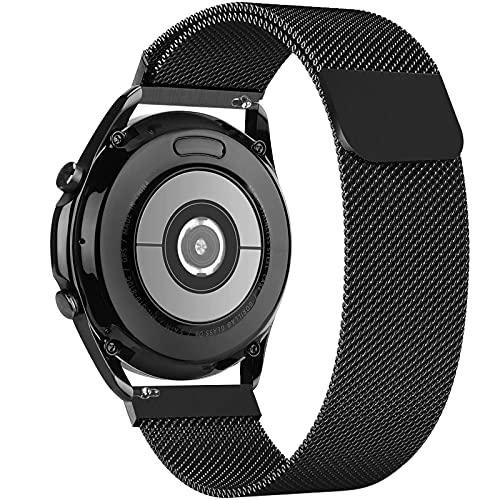 GBPOOT 22mm Metal Correa Compatible con Samsung Galaxy Watch 3(45mm/44mm)/Watch 46mm/Gear S3 Classic/Huawei GT2 46mm,Correa de Malla Acero Inoxidable Correa Repuesto de liberación rápida(22mm Negro)