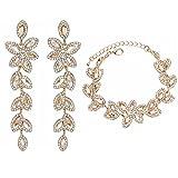 mecresh Bride Jewelry Set Crystal Floral Leaf Crawler Chandelier Dangle Earring Bracelet Wedding Prom Champagne