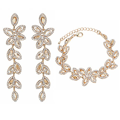 mecresh Bride Jewelry Set Crystal Floral Leaf Crawler Chandelier Dangle Earring Bracelet Wedding Prom Champagne