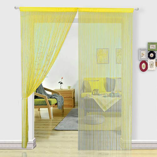 HSYLYM Fadenvorhang Schlafzimmertür, als Insektenvorhang oder Raumteiler verwendbar, Polyester, gelb, 90x200cm