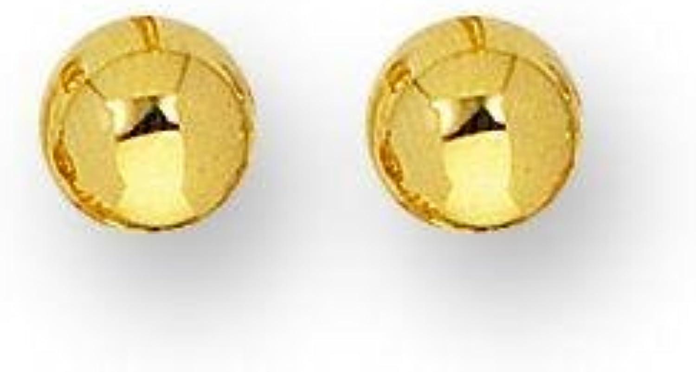 14k Yellow Gold 3x3x3mm Polish Finish Round Ball Stud Earring