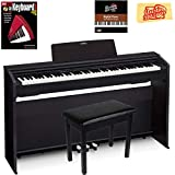 Casio Privia PX-870 Digital Piano - Black Bundle with Furniture Bench, Instructional Book, Online Lessons, Austin Bazaar Instructional DVD, and Polishing Cloth