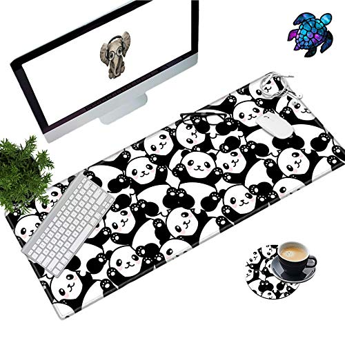 Desk Pad Mat Large Mouse Pad XL Extended Mousepad Gaming with Cute Panda 31.5' 11.8' Huge Mouse Pads for Computer Laptop Home Office + Cup Coaster and Cute Stickers