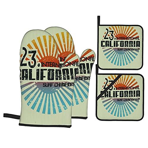 Vintage California Surf Beach Dibujo Aventura Cultura Tabla de Surf,Juegos de Manoplas para Horno y Porta Ollas,4Pcs Impermeable Guantes Almohadillas para Cocina Cocinar Hornear Barbacoa
