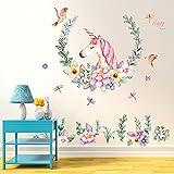 Gemini_mall Cute Unicorn Wall Sticker Mural Art Decor for Kids Children Bedroom Decorartion