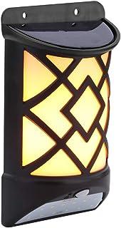 2-in-1 Solar Light 60 LED Flame Light + 12 LED Induction Light Day/Night Sensor Wall Light Motion Sensor Light High Bright...