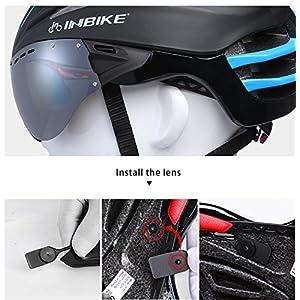 INBIKE ciclismo casco con gafas lnes Integrally-molded casco bicicleta cascos de bicicleta 57–62cm Circunferencia de la cabeza 4colores, blanco