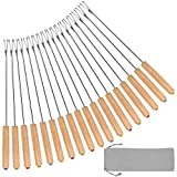 STYDDI Fondue Fork, 18Pcs Stainless Steel Color Coding Fondue Forks with Oak Wood Handle Heat Resistant for Chocolate Fountain Cheese Fondue Roast Marshmallows, 9.5 Inch