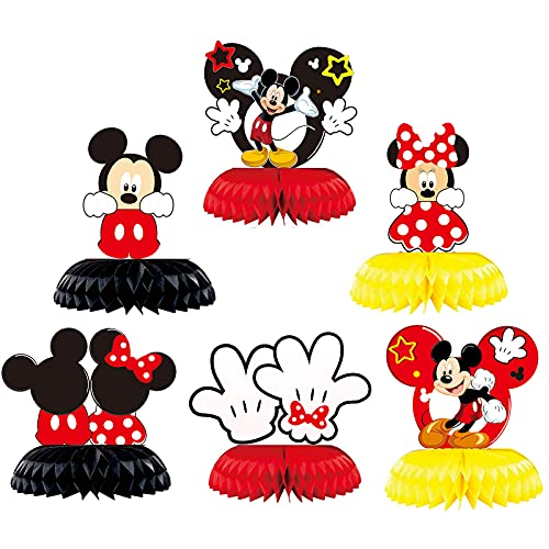 3D Mickey Minnie Honeycomb Centerpieces Table Topper for Birthday Party Decoration, Double Sided...