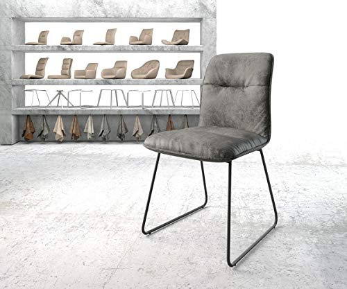DELIFE Stuhl Vinjo-Flex Kufengestell schwarz Vintage Grau