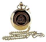 Taschenuhr, 24Karat vergoldet, mit irischem Kleeblatt und Irland-Emblem, in Geschenkbox aus Holz