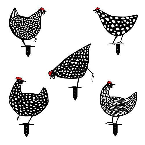 Metall Tiere Art Yard Decor Outdoor - Hahn Metall Tier Silhouette Pfahl für Yards, Huhn geformte Garten Kunst, Outdoor Silhouette lebensechte Henne Dekoration mit schöner Bedeutung (5 Pcs)