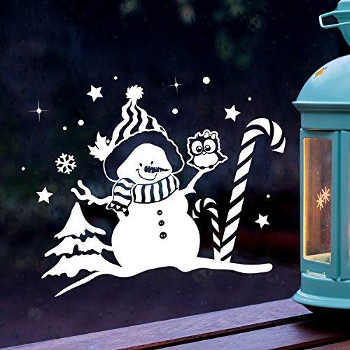 ilka parey wandtattoo-welt Fensterbild Schneemann & Eule Fensterbilder Fensterdeko Winterlandschaft M 27x21cm + Sterne & Schneeflocken selbstklebend für Kinder M2262
