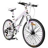 ZLMI Bicicleta De Montaña para Mujer De 26 Pulgadas, Bici De Velocidad Variable De 24 Velocidades, Freno De Disco Doble Mecánico, Marco De Aleación De Aluminio, Ligero Y Duradero