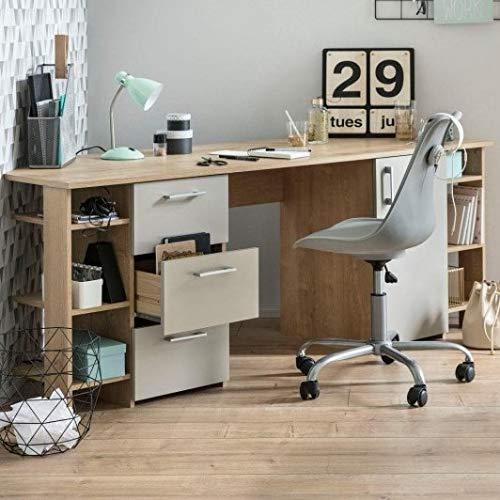 Schreibtisch Eck Eiche-grau Eck-Bürotisch Eckschreibtisch - (3719)
