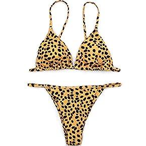 YAUASOPA Sexy Bikini Cheetah Leopard Print Swimwear Women Push Up Bikini Micro Thong Swimsuit Bathing Suit Brazilian Biquini