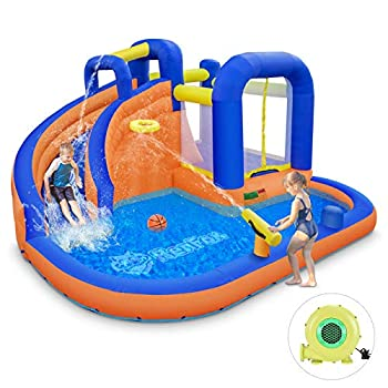 RenFox Inflatable Waterslide Extra Thick Water Bounce Hose with Blower Backyard Playsets for Kids with Long Slide Basketball Hoop and Climbing Wall Kids Summer Toys Outdoor