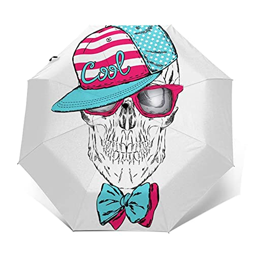Paraguas Plegable Automático Impermeable Gafas con Gorro de Calavera 734, Paraguas De Viaje Compacto a Prueba De Viento, Folding Umbrella, Dosel Reforzado, Mango Ergonómico
