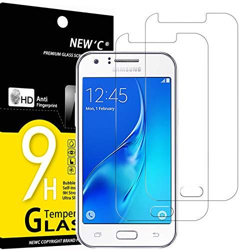 NEW\'C 2 Stück, Schutzfolie Panzerglas für Samsung Galaxy J1 Mini, Frei von Kratzern, 9H Härte, HD Displayschutzfolie, 0.33mm Ultra-klar, Ultrabeständig
