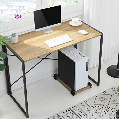 MSmask Schreibtisch mit PC Ständer Klapptisch Computertisch tragbar Konferenztisch Esstisch stabil platzsparend Laptop Tisch Hölzerner Tisch