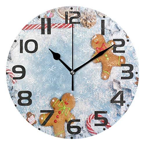FETEAM Reloj de Pared de Hombre de Pan de Jengibre navideño silencioso sin tictac, Copo de Nieve Relojes de Invierno con Pilas Reloj de Escritorio Vintage de 10 Pulgadas de Cuarzo