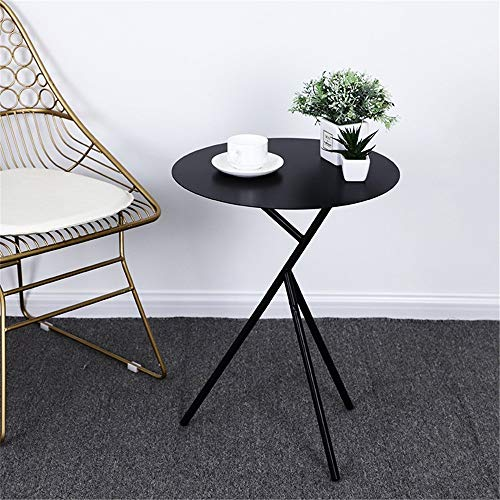 XJLJ Coffee Tables Nordic Style Iron Side Table Round Small Coffee Table Home Corner Table Easy To Assemble Sofa Table for Office Furniture (Color : Black, Size : 45×56.5cm)
