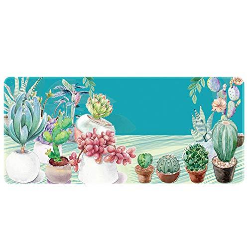 Demarkt kantoor comfort lederen muismat extra groot tafelonderlegger muismat - bloempot patroon 100x50x0.3cm groen