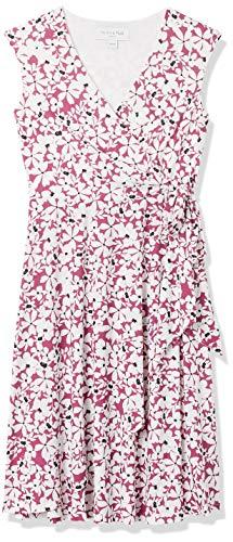 Amazon-Marke: TRUTH & FABLE Damen Wickelkleid aus Jersey, Mehrfarbig (Pink Ground Floral), 42, Label:XL
