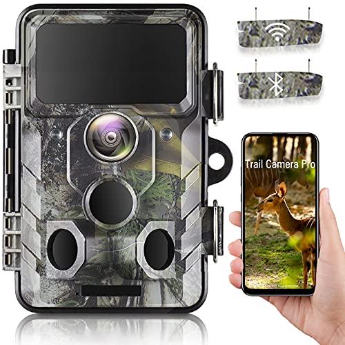 WLAN Bluetooth Wildkamera 20MP 1296P Video Jagdkamera mit 120 ° Überwachungswinkel Bewegungserkennung in der Nacht mit Infrarot-Aufnahme, IP66 Wasserdicht Outdoor-Kamera