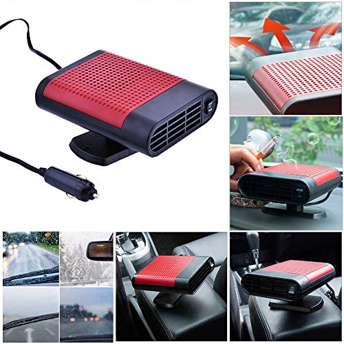 Portable Car Heater 12V/150W Fast Heating Quickly Defrost Defogger Demister Heat Cooling Fan Auto Dryer Windshield Defroster Plug in Cigarette Lighter 360 Degree Rotary Base with Air Purification