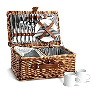 Picnic Basket for 2, Willow Hamper Set with Insulated Compartment, Handmade...