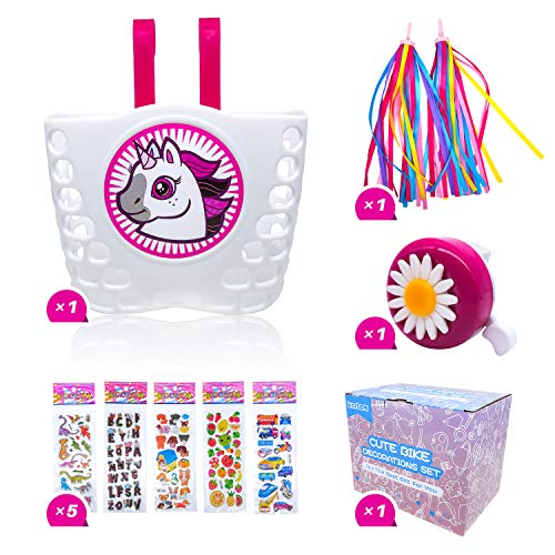 kortes Children s Bike Accessories, Kids Bike Bell and Streamers, White Front Handlebar Basket with Sticker(Rose and White)