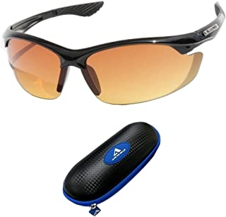 50279d46fe Black with Blue Case SPORT WRAP HD NIGHT DRIVING VISION SUNGLASSES YELLOW  HD GLASSES