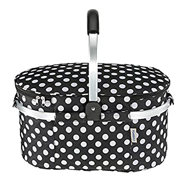 TOMSHOO 30L Foldable Picnic Basket Insulated Storage Shopping Basket Folding Aluminum Handle 46 25 24cm Outdoor