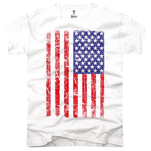 TEE-Shirt, Herren T-Shirt USA Flag Taille M,Weiãÿ