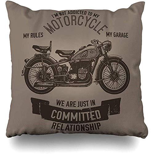 xububaihuodian Spares - Funda de cojín con cita industrial para moto, mano-ciclista, estilo vintage, para decoración del hogar, tamaño cuadrado, 45,7 x 45,7 cm, diseño de funda de almohada