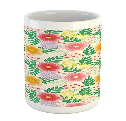 N\A Taza Floral, Flores repetidas, Colorido Despertar de Primavera en Tono Crema, patrón de Fondo, Taza de café de cerámica para Bebidas de té de Agua, 11 oz, Crema Multicolor