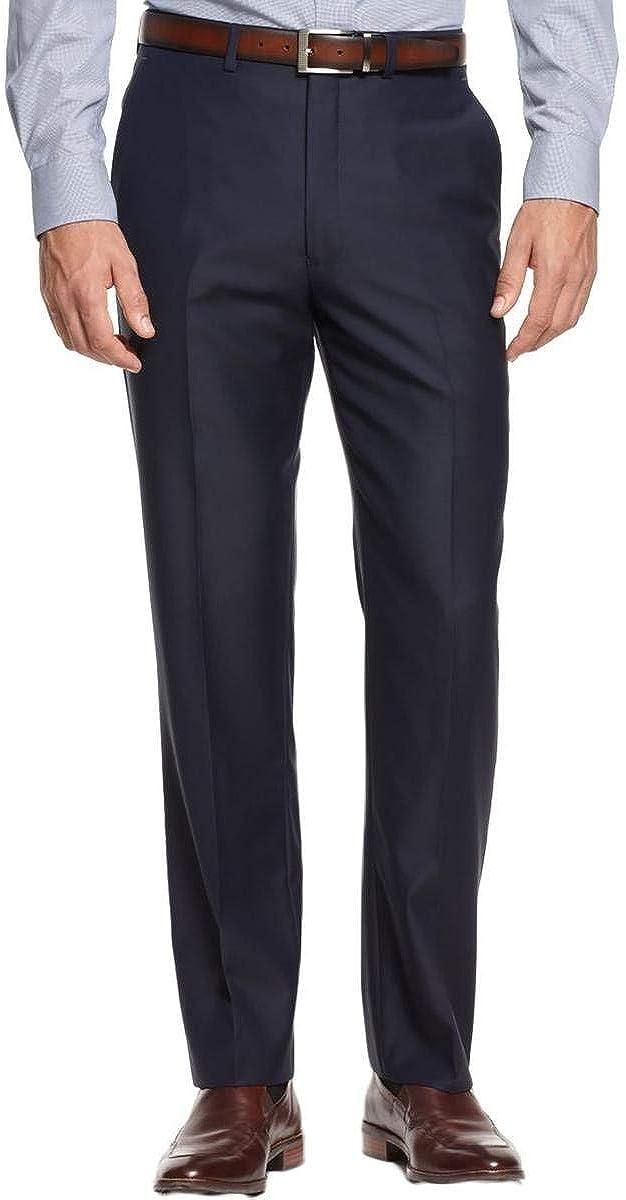 人気商品 Ryan Seacrest Navy Solid Flat Front Men's 価格交渉OK送料無料 Dress New 100% Wool Pa