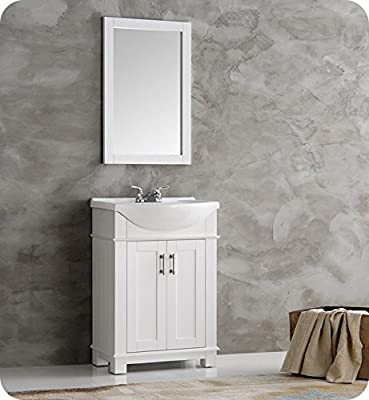 """Fresca FVN2302WH-CMB Hartford 24"""" White Traditional Bathroom Vanity with Sink Combo (Faucet not included)"""