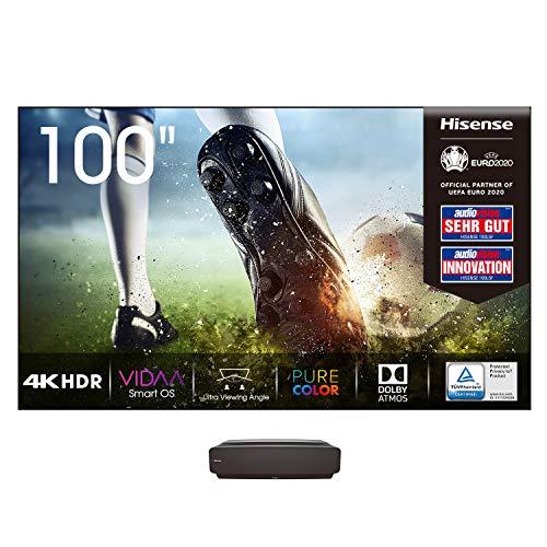 Hisense 100L5F-A12 Laser TV 100' con schermo Antiriflesso, Risoluzione 4K, HDR10, Smart TV VIDAA 4.0, Dolby Atmos, 2700 Lumen, Alexa Integrata, tivùsat 4K, Installazione Inclusa