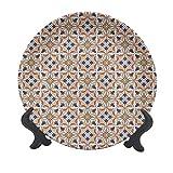 Piatto decorativo in ceramica marocchina, 15,2 cm, motivo tradizionale a mosaico con motivo floreale arabesco stile antico, piatto decorativo in ceramica per tavolo da pranzo, catering